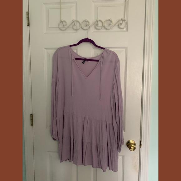 H&M Crinkled Long-Sleeve Dress